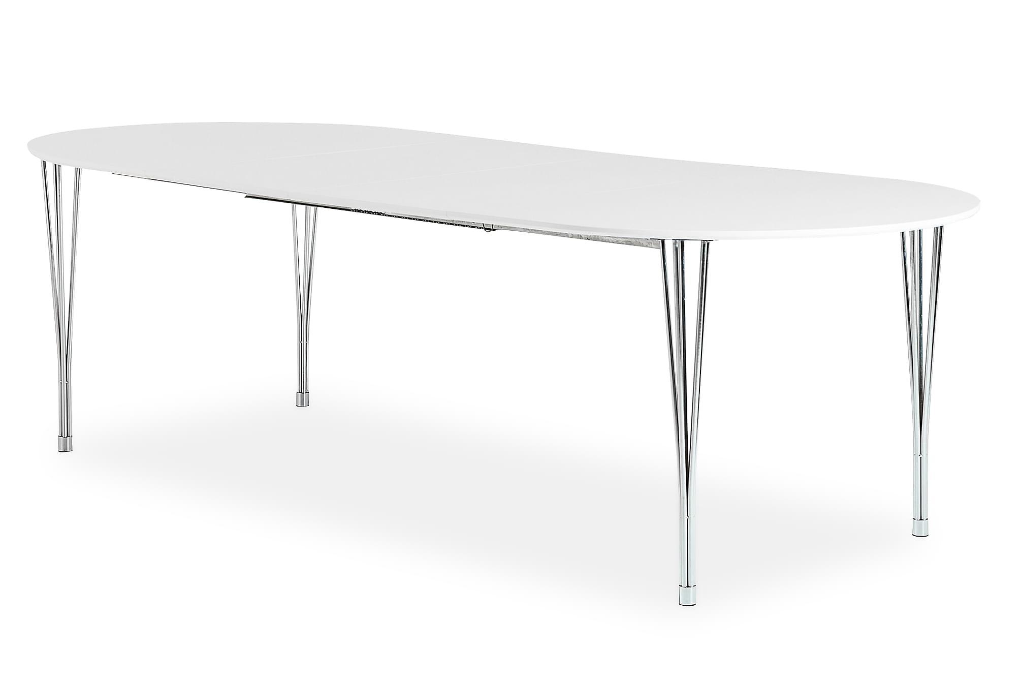 GEORGE Förlängningsbart Matbord 160 Ovalt Vit/Krom