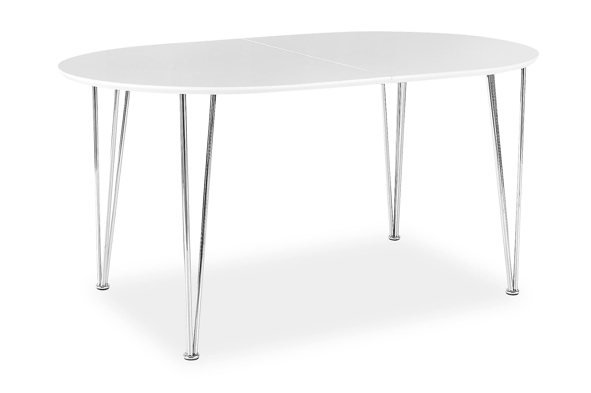 STINA Förlängningsbart Matbord 150 Ovalt Vit/Krom