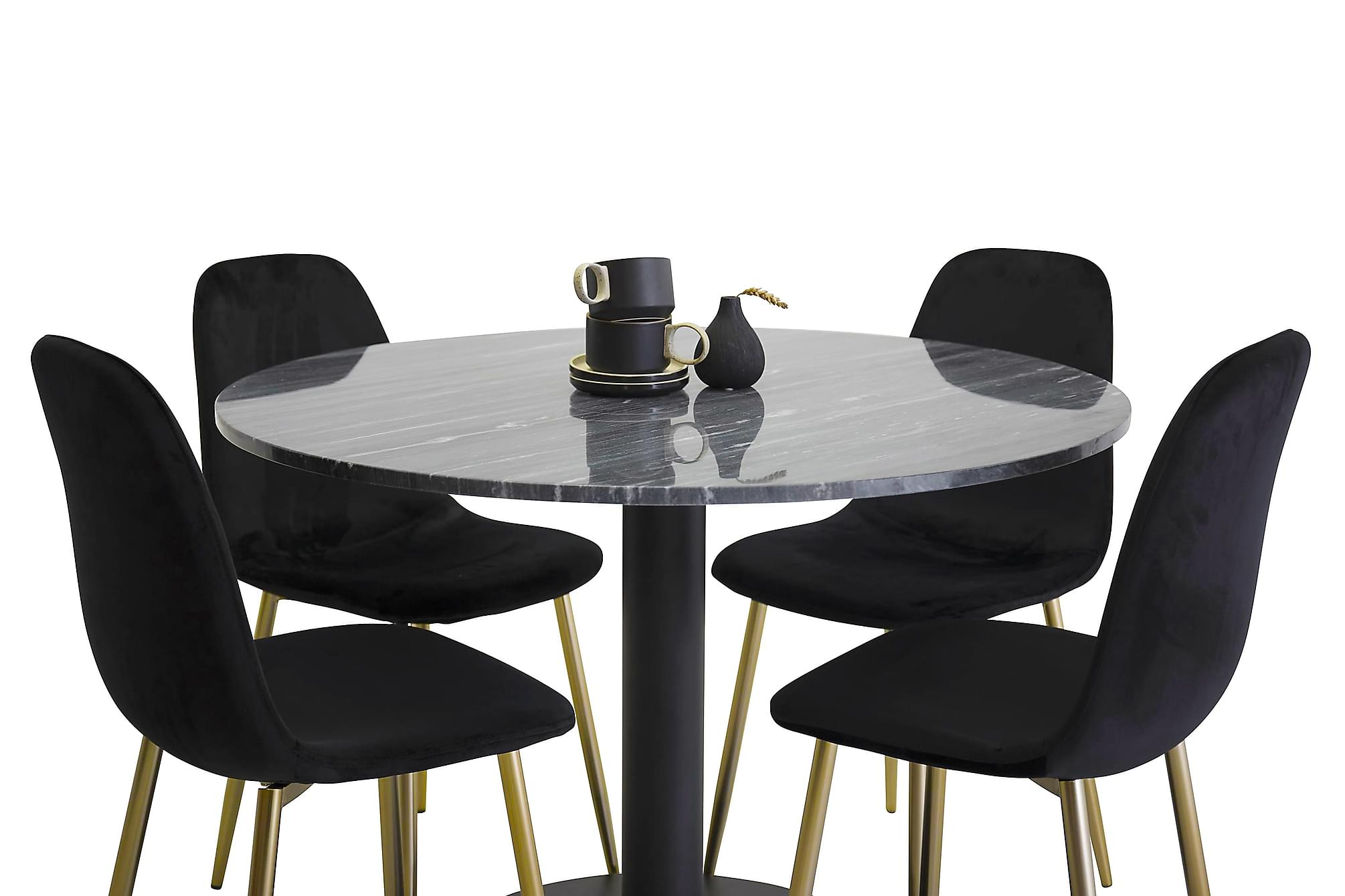 ADMIRA matbord runt svart/svart+Pontus stol svart/mässing 4s, Matgrupper
