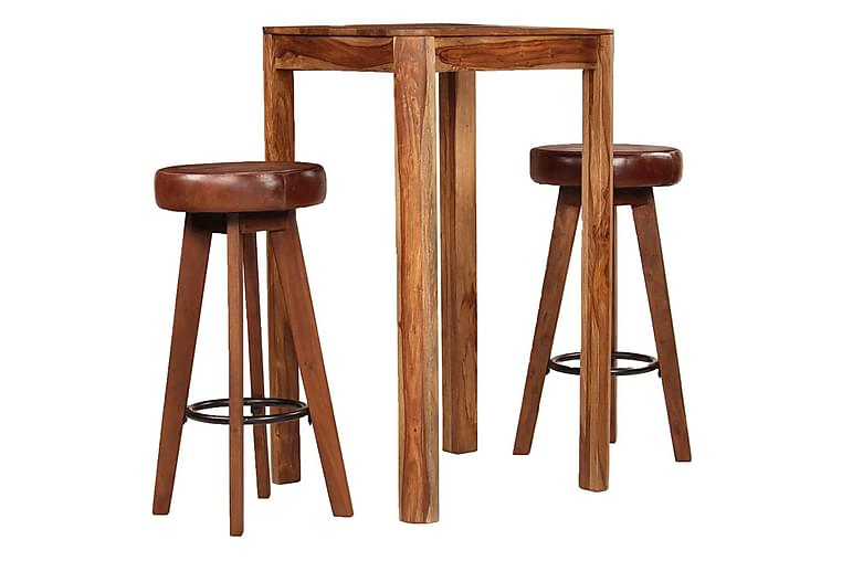 Bargrupp 3 delar massivt sheshamträ äkta läder - Brun - Möbler & Inredning - Bord - Matgrupper