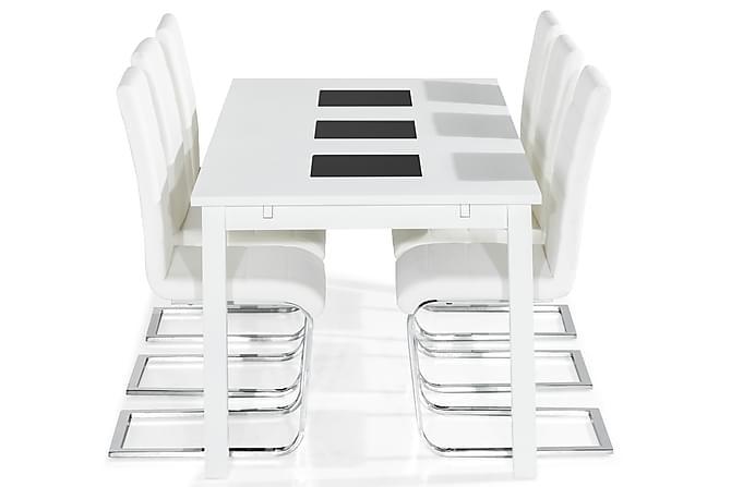 BARROW Matbord 180 Vit + 6 SALA Stol Vit PU - Inomhus - Bord - Matgrupper
