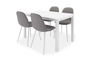 BELUGA Förlängningsbart Matbord 120 Ovalt Vit + 6 PESO Stol
