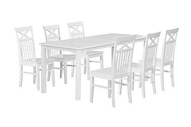 BELUGA Matbord 180 + 6 stolar Vit