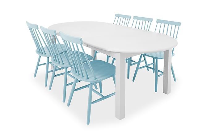 BELUGA Matgrupp 160 Ovalt Vit + 6 LOWA Stol Ljusblå - Möbler & Inredning - Bord - Matgrupper