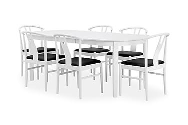 BERGSTRÖM Matbord 200 Ovalt Vit + 6 EVEN Stol Vit/Svart