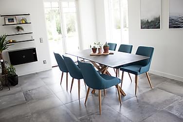 CALDAS Matbord + 6 PEDER Stolar Grå/Ek/Blå