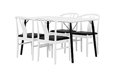 CLAIRE Matbord 140 + 4 HUGO Stol Vit/Svart