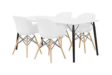 CLAIRE Matbord 180 Vit/Svart + 4 SCOON Stol Vit