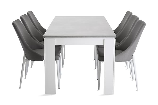 ELIZ Bord 180 Vit/Cement + JAMPE Stol Grå/Vit - Möbler & Inredning - Bord - Matgrupper