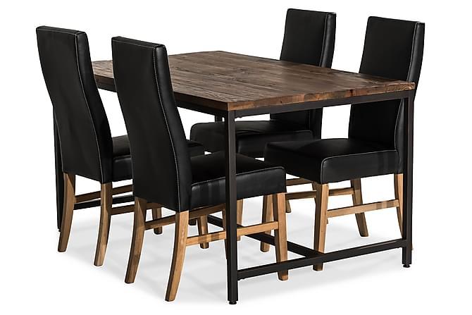 EPOQUE Matbord 140 Alm/Svart + 4 MATTIA Stol Svart PU/Ek - Möbler & Inredning - Bord - Matgrupper