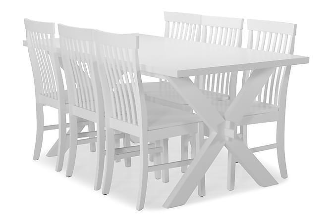 FRESNO Bord + 6 CHILLY Stol X-ben/Vitlack - Möbler & Inredning - Bord - Matgrupper
