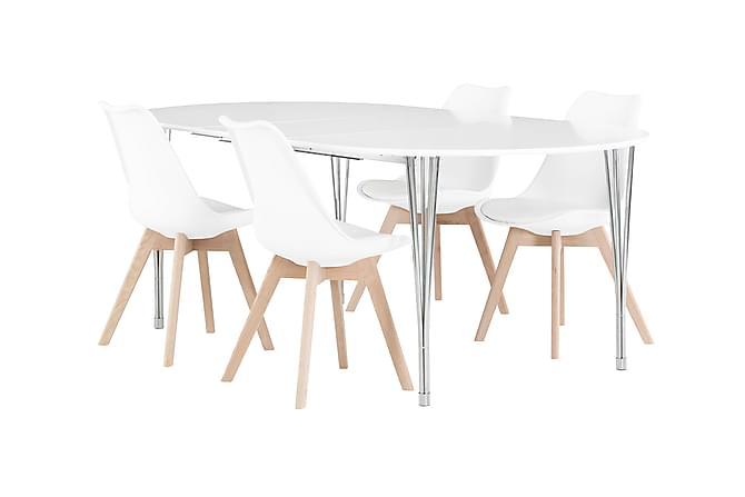 GEORGE Matbord 160 Vit + 4 PEACE Stol Vit/Ek - Möbler & Inredning - Bord - Matgrupper
