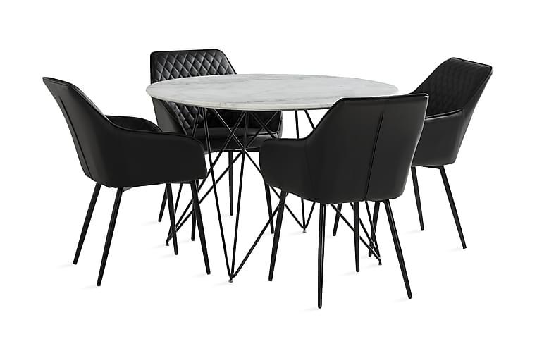 KEN Matbord 110 cm Runt Vit/Svart + 4 TOFTINGE Karmstolar - Möbler & Inredning - Bord - Matgrupper