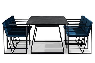 KIAS Matbord 200 Svart + 6 NIJOU Stol Vit/Blå