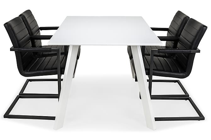 LADY Matbord 150 Vit + 4 HENRY Stol Vit/Svart PU - Inomhus - Bord - Matgrupper