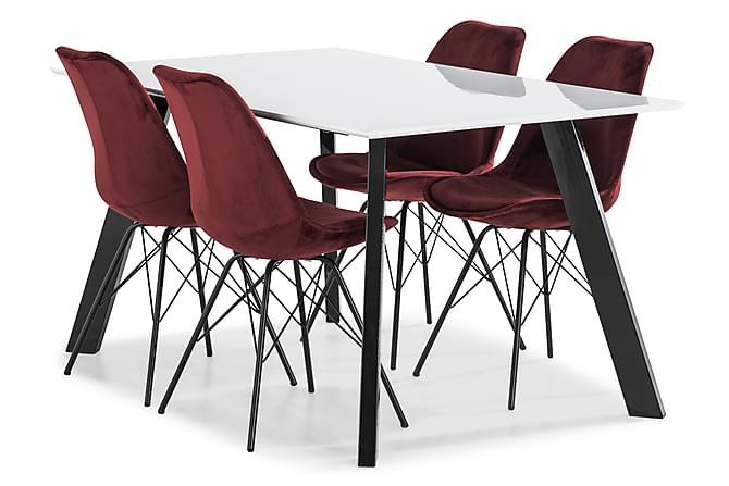 LADY Matbord 150 Vit/Svart + 4 ZENIT Stol Sammet Röd - Inomhus - Bord - Matgrupper