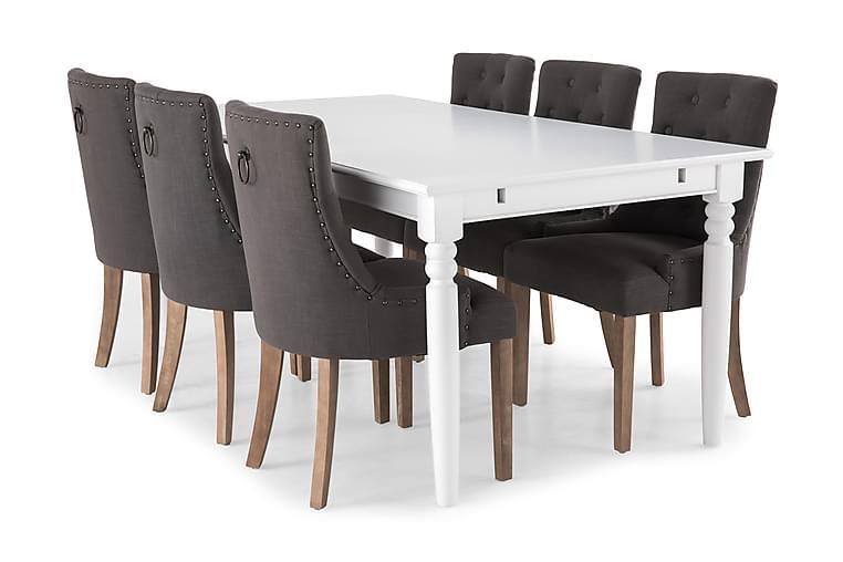 MACKAY Matbord 190 Vit + 6 COLFAX Fåtölj Grå - Möbler & Inredning - Bord - Matgrupper