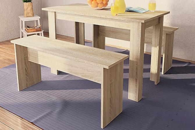 Matbord och bänkar 3 delar spånskiva ek - Natur - Möbler & Inredning - Bord - Matgrupper