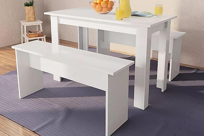 Matbord och bänkar 3 delar spånskiva vit - Vit - Möbler & Inredning - Bord - Matgrupper
