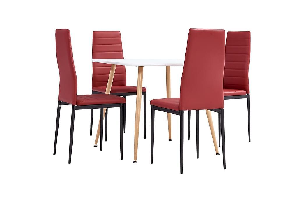 Matgrupp 5 delar konstläder vinröd - Röd - Möbler & Inredning - Bord - Matgrupper