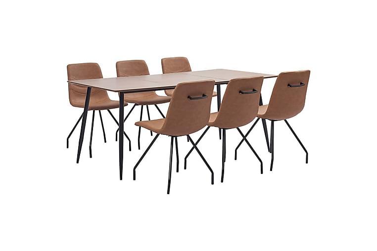Matgrupp 7 delar brun konstläder - Brun - Möbler & Inredning - Bord - Matgrupper