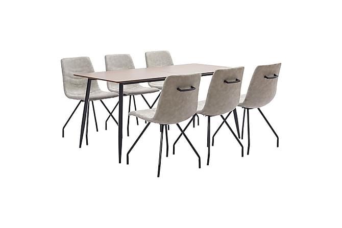 Matgrupp 7 delar grå konstläder - Grå - Möbler & Inredning - Bord - Matgrupper