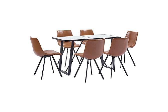 Matgrupp 7 delar konjaksbrun konstläder - Brun - Möbler & Inredning - Bord - Matgrupper