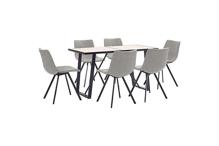Matgrupp 7 delar ljusgrå konstläder - Grå - Möbler & Inredning - Bord - Matgrupper