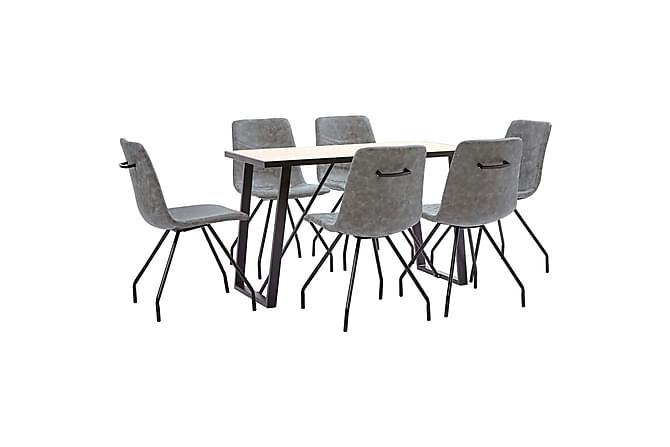 Matgrupp 7 delar mörkgrå konstläder - Grå - Möbler & Inredning - Bord - Matgrupper
