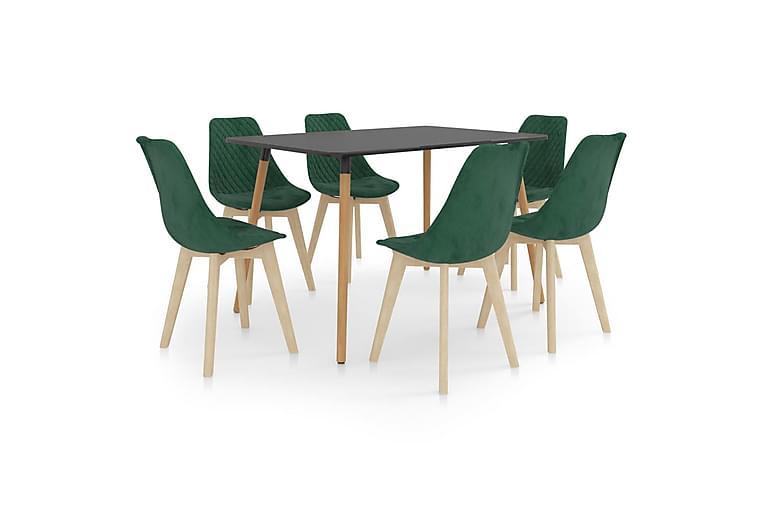 Matgrupp 7 delar mörkgrön - Grön - Möbler & Inredning - Bord - Matgrupper