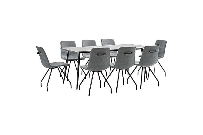 Matgrupp 9 delar mörkgrå konstläder - Grå - Möbler & Inredning - Bord - Matgrupper