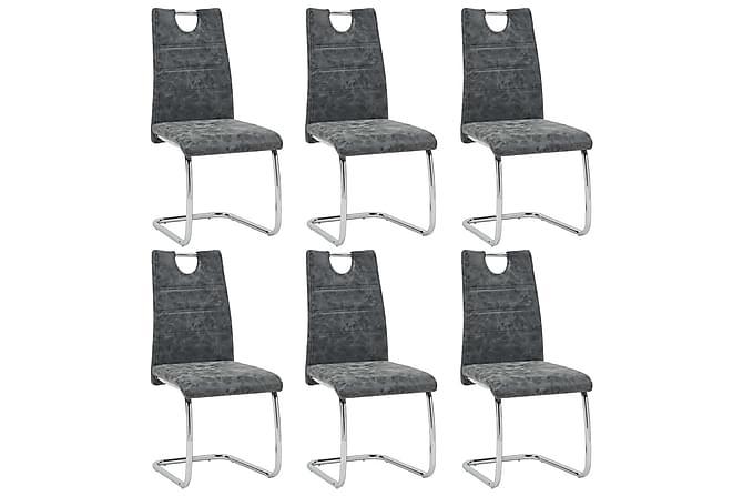 Matgrupp 9 delar svart konstläder - Svart - Möbler & Inredning - Bord - Matgrupper