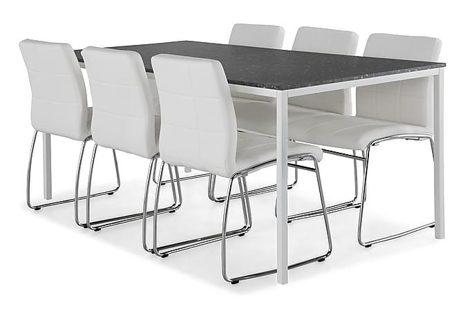MILANTO Matbord 180 Mörkgrå Terrazzo + 6 VISKAN Stol Vit/Kro - Möbler & Inredning - Bord - Matgrupper