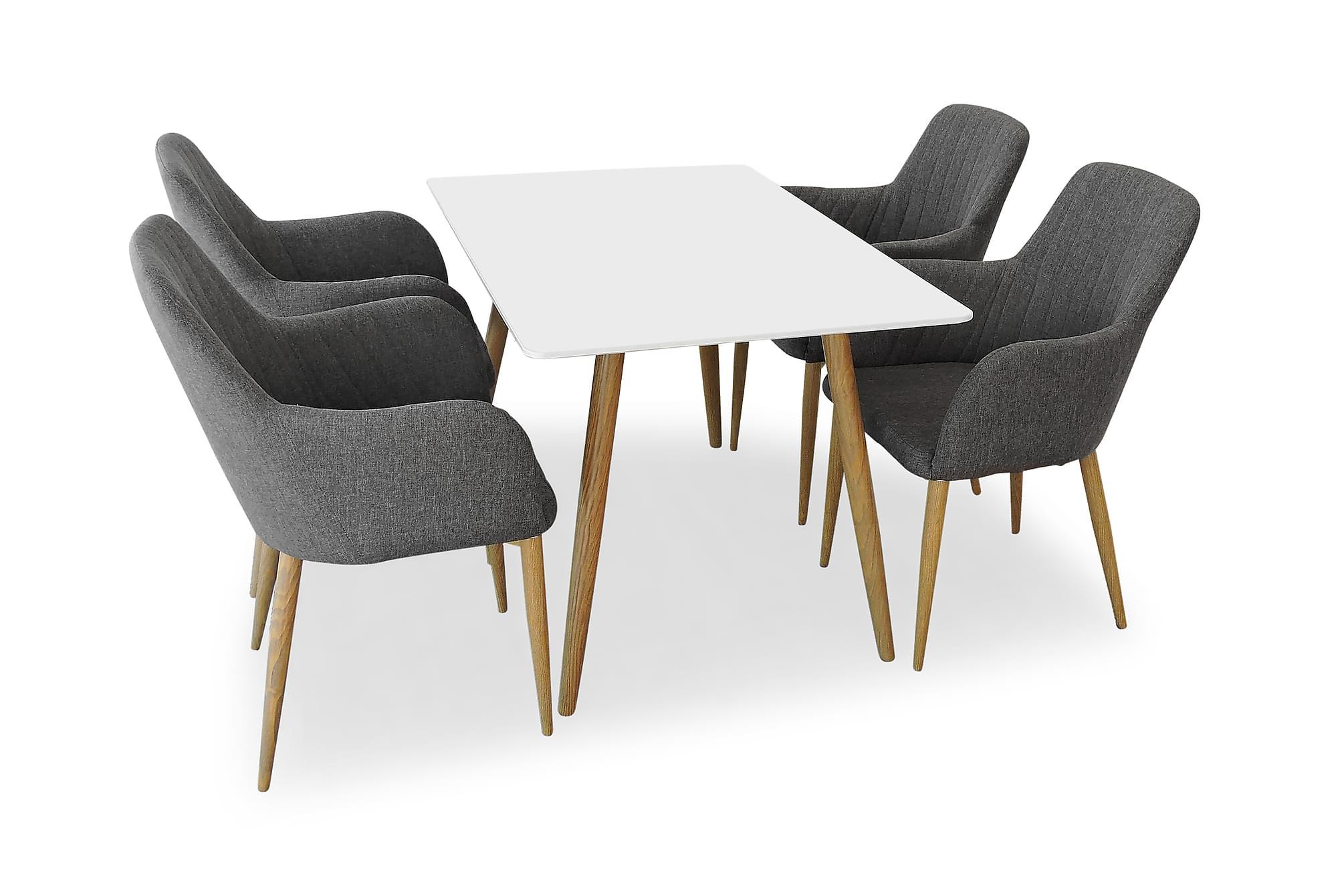 PEDER Matbord 120 Vit/Ek + 4 CASPIAN Fåtölj Grå