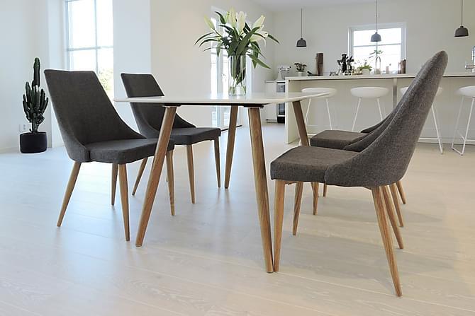 PEDER Matbord 120 Vit/Ek + 4 LUDVIG Stol Mörkgrå/Ek - Inomhus - Bord - Matgrupper