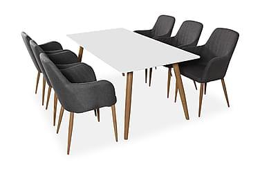 PEDER Matbord 180 Vit/Ek + 6 CASPIAN Fåtölj Grå