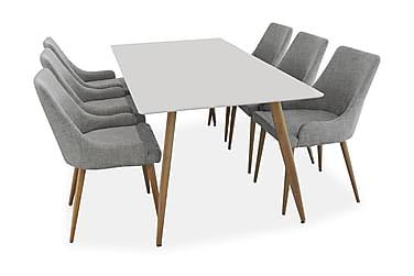PEDER Matbord 180 Vit/Ek + 6 Stolar Grå