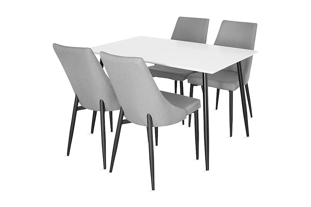 PESO Bord 120 Vit + 4 JAMPE Stol Svart/Grå - Möbler & Inredning - Bord - Matgrupper