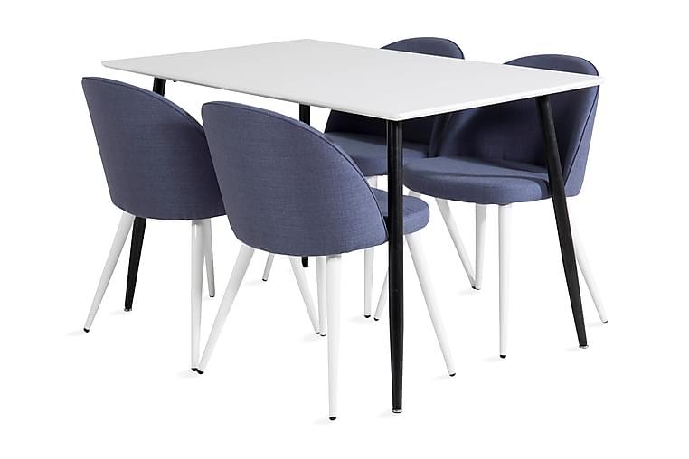 PESO Matbord 120 cm Vit/Svart + 4 ABLANQUE Stolar Svart - Möbler & Inredning - Bord - Matgrupper