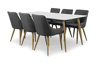 PESO Matbord 180 Vit/Ek + 6 PELLE Stol Mörkgrå/Ek