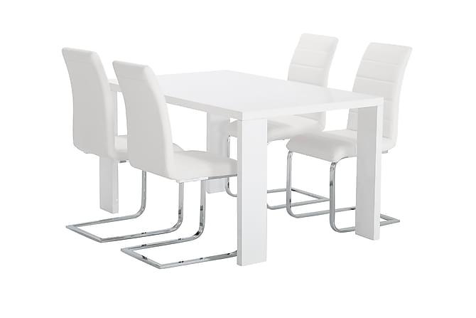 RÖNNE Matbord 140 Vit + 4 SORADO Stol Vit - Möbler & Inredning - Bord - Matgrupper