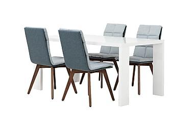 RÖNNE Matbord 160 Blå + 4 MILLER Stol Valnöt