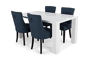 SALA Förlängningsbart Matbord 160 Vit + 4 VIKTORIA Stol Blå
