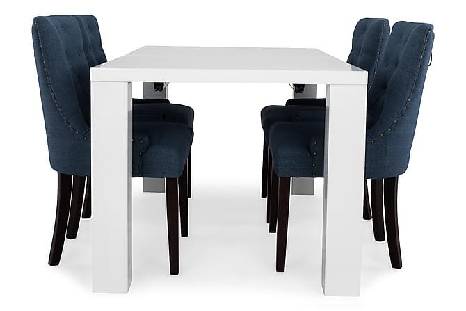 SALA Förlängningsbart Matbord 160 Vit + 4 VIKTORIA Stol Blå - Inomhus - Bord - Matgrupper