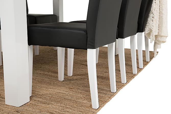 SALA Matbord 180 Vit + 6 VIKTOR Stol Svart Konstläder - Inomhus - Bord - Matgrupper