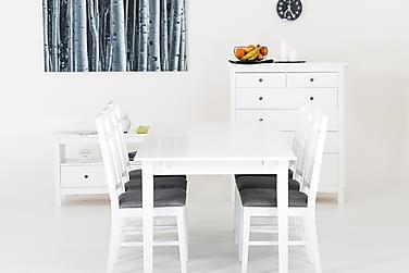 SJÖVIK Förlängningsbart Matbord 140 Vit + 4 Stolar Vit/Grå