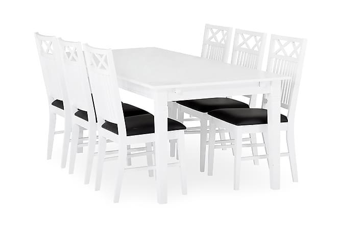 SJÖVIK Förlängningsbart Matbord 140 Vit + 6 Stolar Vit/Grå - Inomhus - Bord - Matgrupper