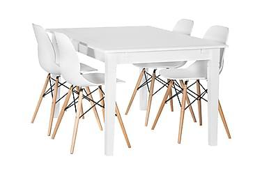 SJÖVIK Matbord 140 + 4 RANA Stol Vit/Träben