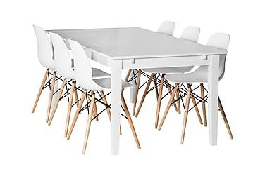 SJÖVIK Matbord 180 + 6 RANA Stol Vit/Träben