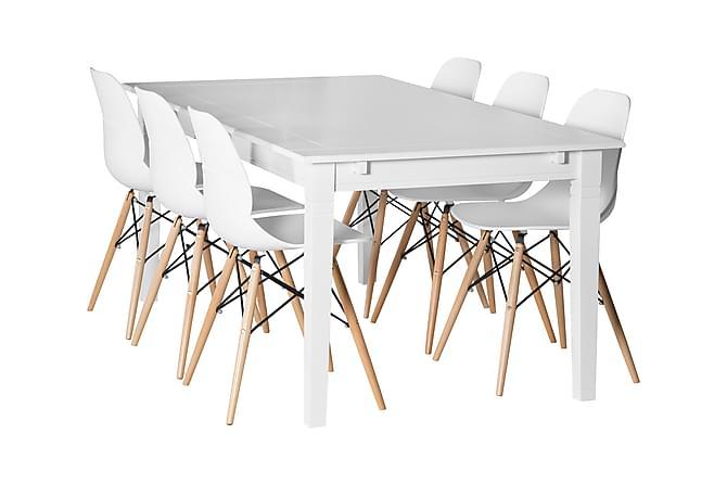 SJÖVIK Matbord 180 + 6 RANA Stol Vit/Träben - Inomhus - Bord - Matgrupper